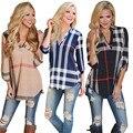 Новое Прибытие 2016 Осень Моды Случайные Плед Рубашку Женщин V-образным Вырезом Черный Блузки Женские Blusas Roupas Camisas Mujer Свободную Рубашку