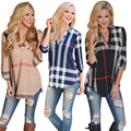 New Arrival 2016 Autumn Fashion Casual Plaid Shirt Female V-neck Black Blouses for Women Blusas Roupas Camisas Mujer Loose Shirt