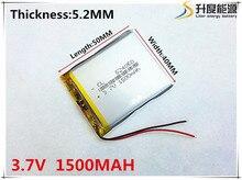 Bateria de Iões Polímero para Mp3 3.7 V 1500 Mah 524050 Células Li-po de Lítio Recarregável Mp4 Mp5 Gps Psp Móvel Bluetooth