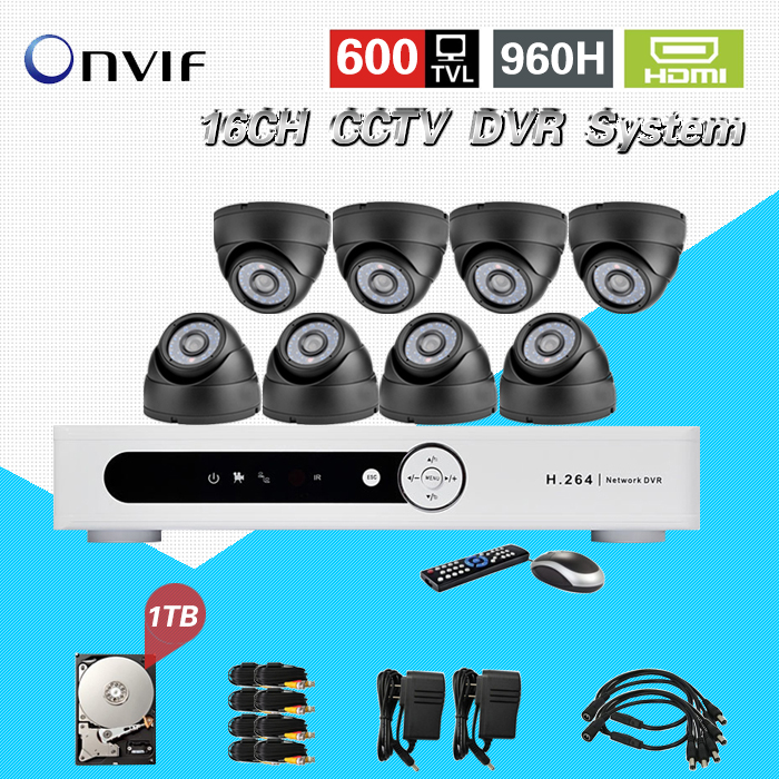 TEATE 16 channel cctv dvr security system 8ps600tvl IR dome Surveillance camera dvr Recorder 16ch hdmi 1080p with 1TB HDD CK-221 home cctv surveillance system 16 channel dvr recording with 16pcs 700tvl dome security camera system cctv dvr kit 16ch ck 206