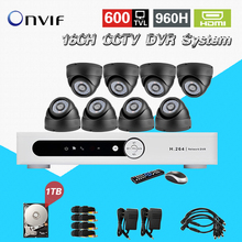 TEATE 16 channel cctv dvr security system 8ps600tvl IR dome Surveillance camera dvr Recorder 16ch hdmi 1080p with 1TB HDD CK-221