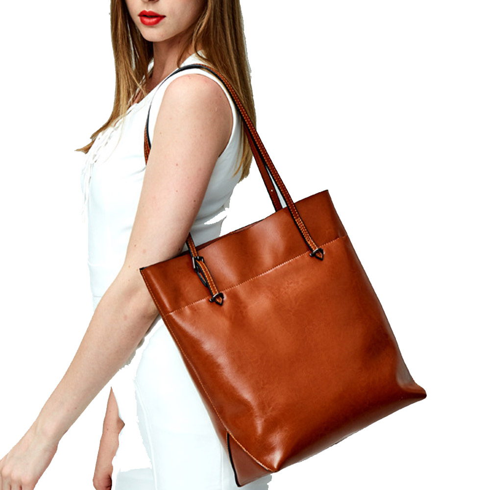 ФОТО Fashion Oil Wax Real Cow Leather Women Handbag Vintage Ladies Shoulder Bag Women Tote Bolsas Large Capacity Shopping Bag