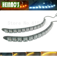 2PC 12V Car DRL With Turn Signal Light Daytime Running Light Yellow Flowing Steady White 14LEDs