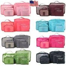 6 шт. дорожные сумки Водонепроницаемый хранения одежды чемодан Органайзер мешок Упаковка Куб