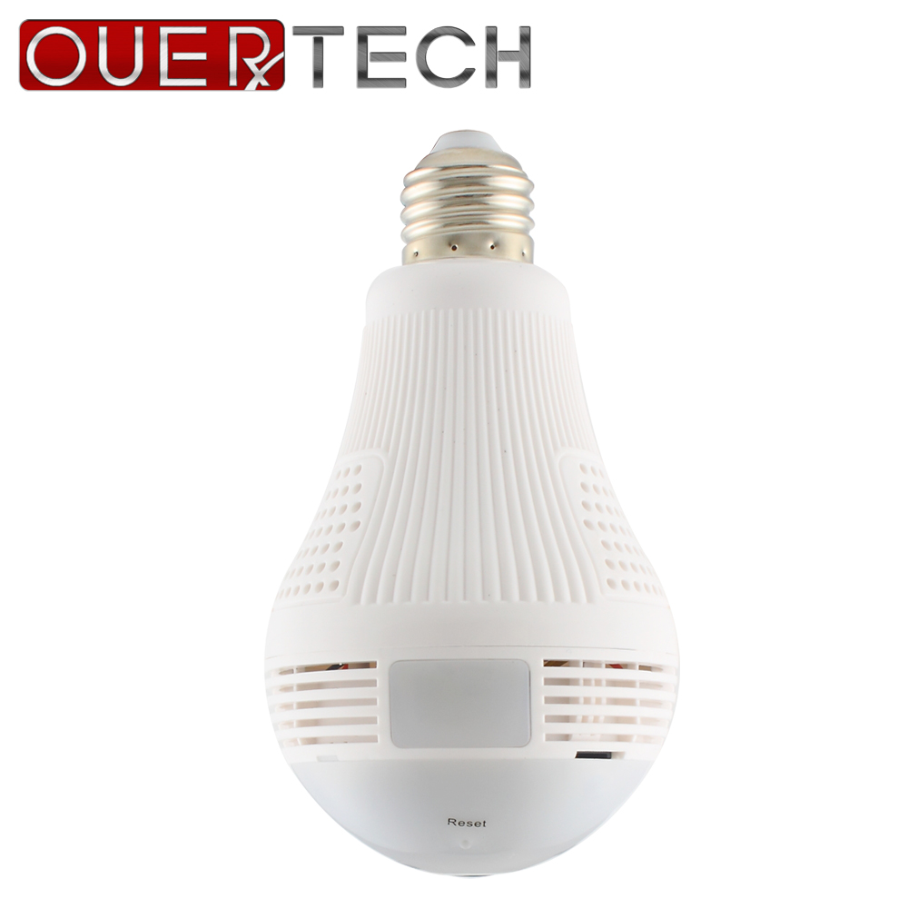 OUERTECH 360 Degree Two Way Audio White Light Bulb Panoramic 960P Full Color Wireless Smart IP Camera VR Camera support 128g