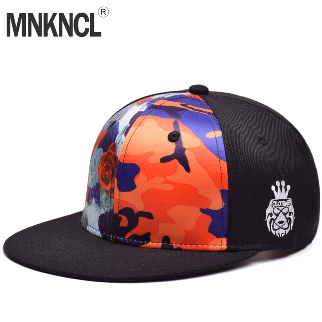 9c122054f1d01 MNKNCL 2018 New Colorful Printing Baseball Cap Brand Flat Brim Snapback Cap  Fashion Hip Hop Hat For Men and Woman Leisure Caps
