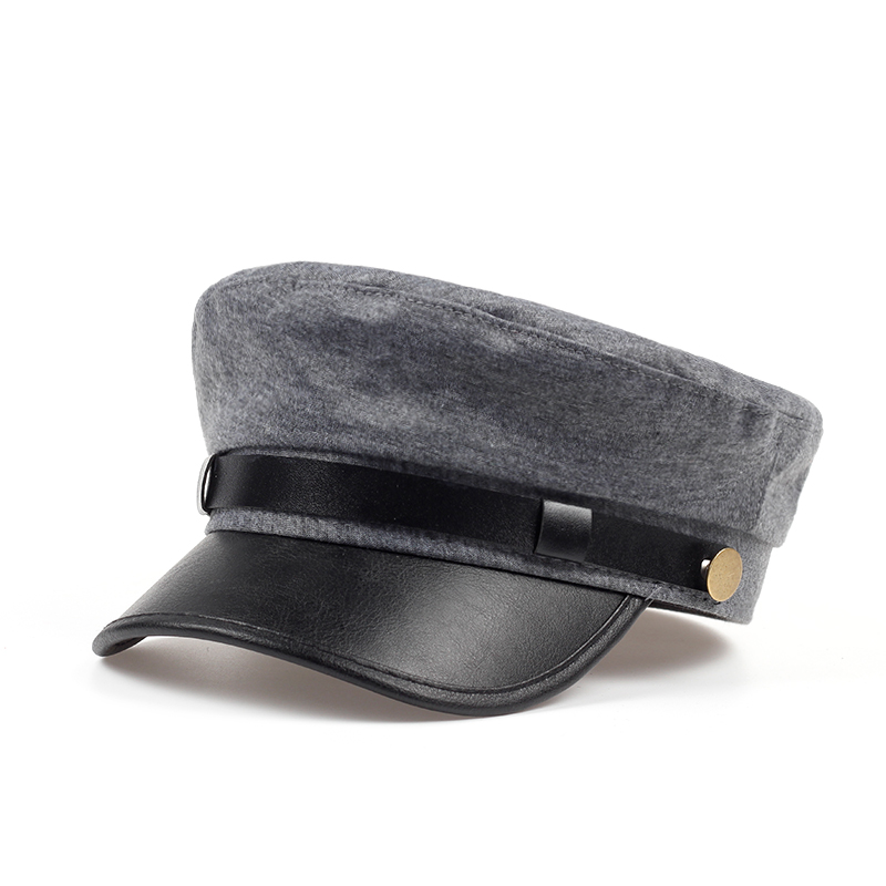 f0a0228b4cf72 new Military Cap Hat Female Winter Hats For Women Men Ladies Army Militar  Hat Pu Leather Visor gray Cap Sailor Hat Bone Male-in Berets from Apparel  ...