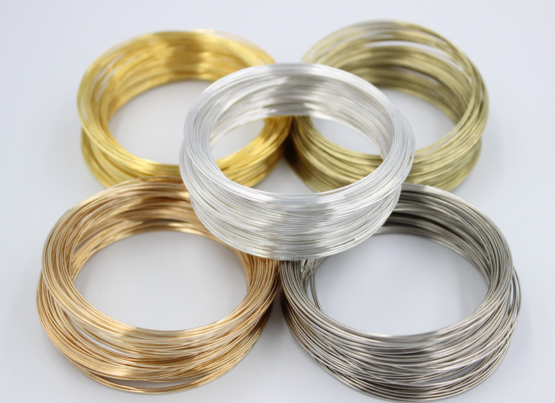 100 Loops 0.6mm Silver Gold Bronze Memory Beading Steel Wire For DIY Jewelry Findings Multi-layerBangle Bracelet Making