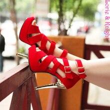 สุภาพสตรีS Trappyผ้าพันแผลP Eep Toe G Ladiatorกริชรองเท้าส้นสูงสีดำเซ็กซี่สีแดงแพลตฟอร์มรองเท้าแตะรองเท้า