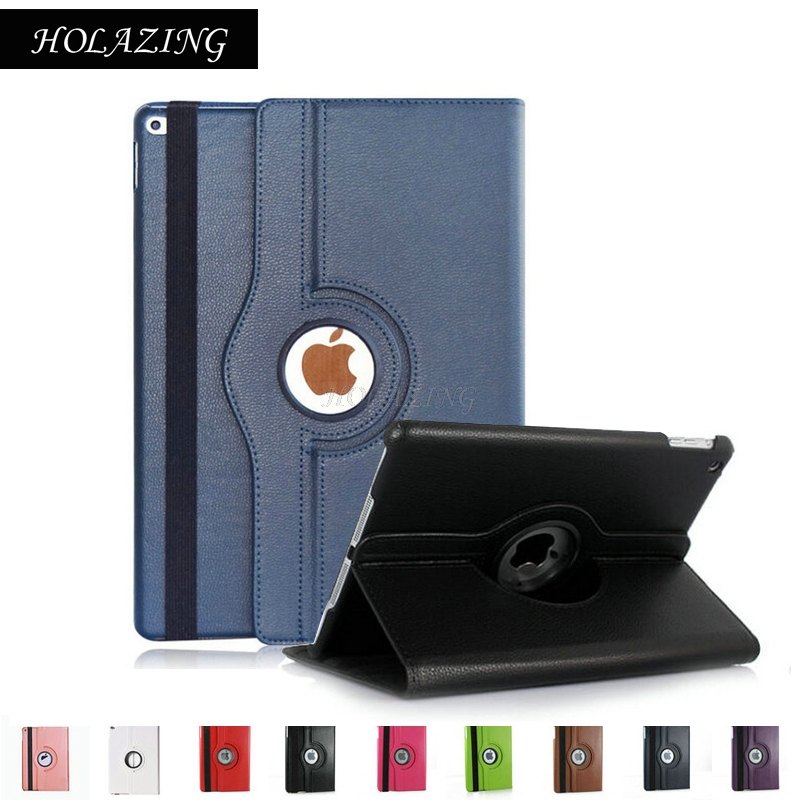 Leather Pattern PU Leather 360 Rotation Smart Wake up & Sleep Cover for iPad Air 9.7 Multi Angle Stand Anti-Shock Drop Case