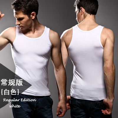 Image 4 - 3pcs High quality Men's modal Solid color underwear clothing close fitting vest lycra high elasticity broad shoulder undershirts-in Undershirts from Underwear & Sleepwears