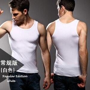 Image 4 - 3pcs High quality Mens modal Solid color underwear clothing close fitting vest lycra high elasticity broad shoulder undershirts