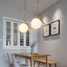 Nordic Glass Ball Pendant Lights Modern LED Iron Pendant Lamp Living Room Restaurant Hanging Lamp Light Fixtures Luminaire postmodern magic bean lamps pendant light nordic modern brief dna lamp creative iron glass hanging lamp glass ball lustre mudou
