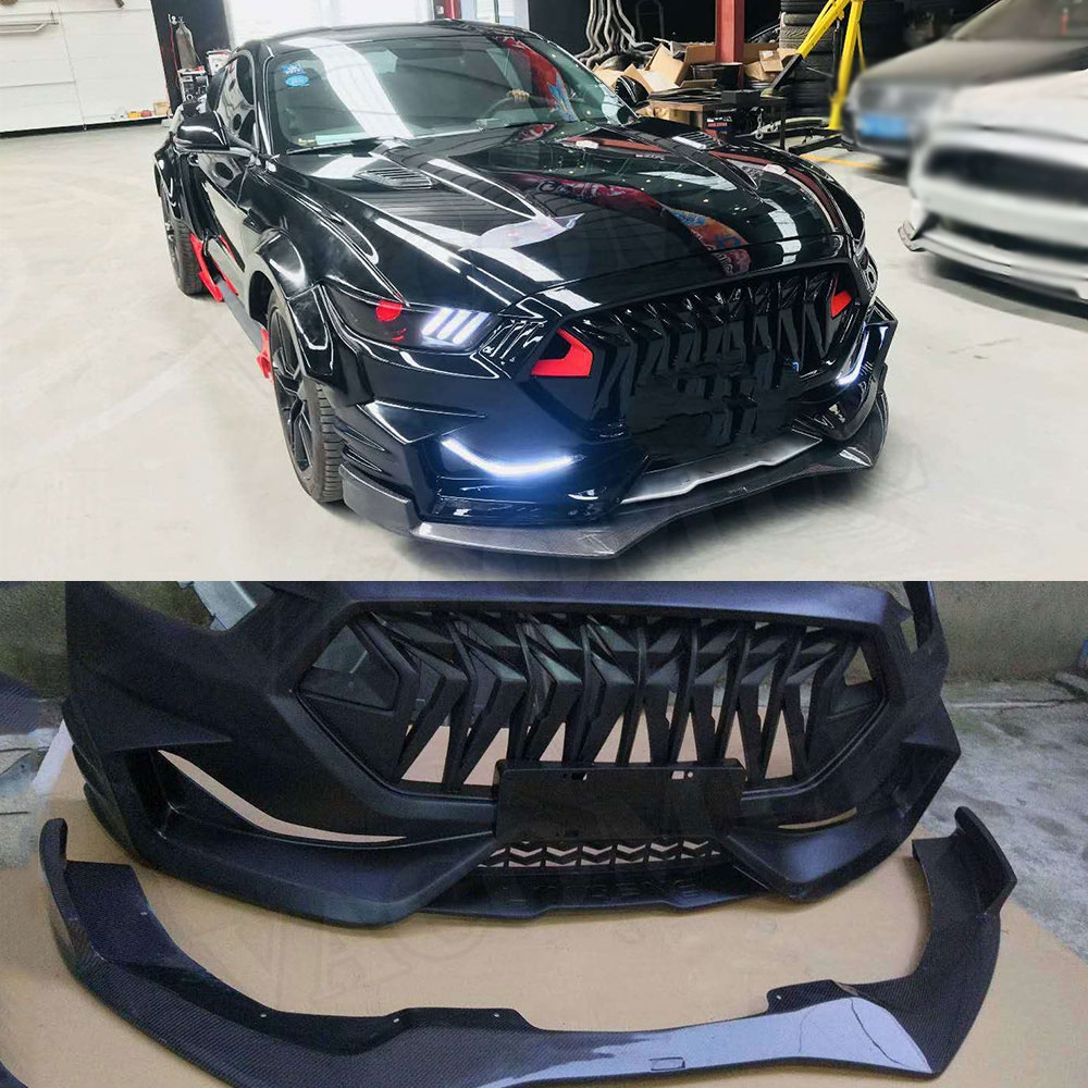 Carbon fiber Front Bumper Lip Spoiler Grills FRP Parts Rear Diffuser Car Accessories for Ford Mustang Coupe 2015 2017 Body Kits
