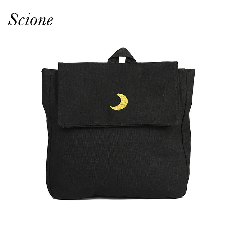 Heart Moon Embroidery Backpack Harajuku Women Book School Bags for Teenage Girls Travel Bag Pack Mochila Cute Canvas Pocket