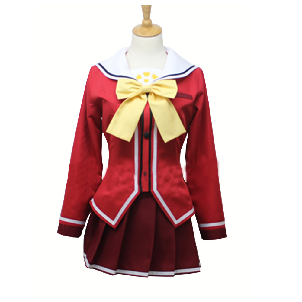 Smart New Anime Charlotte Nao Tomori Red School Uniform Cosplay Costume Women's Costumes