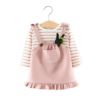 2018 Spring Girls Dresses Knitted Shirts Strap Ruffle Dress 2pcs Baby Children Clothing Set 1 2