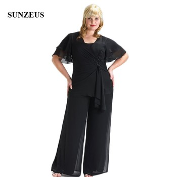 Plus Size Mother's Dress with Short Sleeve Pleats Beaded Elegant Groom Mother Dresses Pants Chiffon Formal Party Suits SMD77