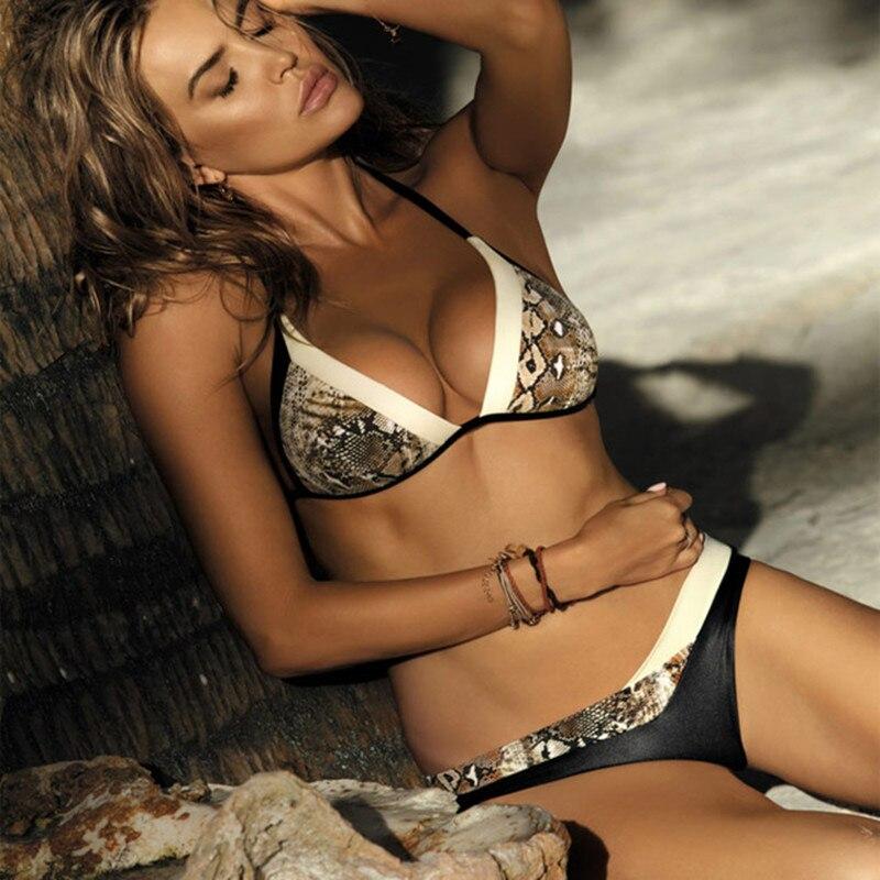 Brasilianische Badeanzug Bikinis 2018 Schlange Haut Gedruckt Bikini Set Bandeau Strappy Bademode Bottom und tops Schwimmen Retro Monokini
