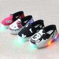 2017 meninas olá kitty shoes meninos ab estilo led luz lona shoes crianças dos desenhos animados mickey luz shoes shoes do bebê portátil