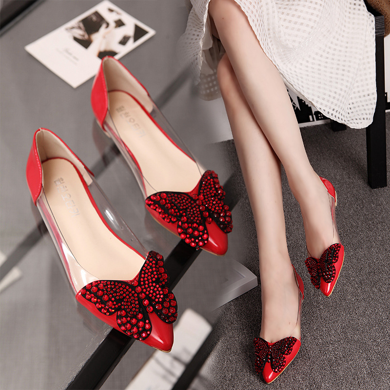 Korean version 2019 Spring bow exquisite fashion pointy comfortable flat shoe tide dames schoenen in Women 39 s Flats from Shoes