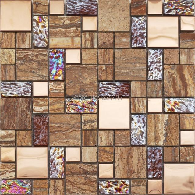 Braun Glas Gemischt Marmor Stein Mosaik Fliesen Kuche Aufkantung