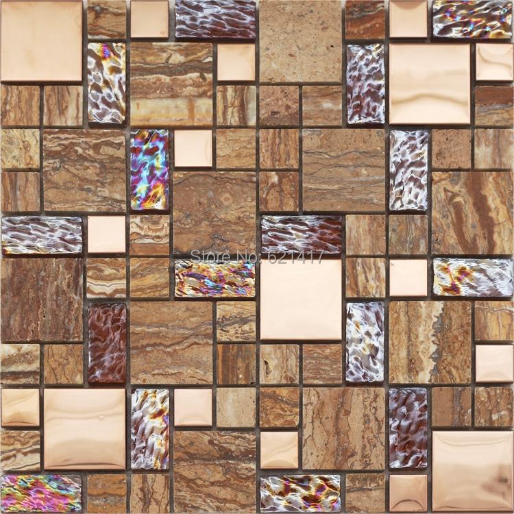"brown glass mixed marble stone mosaic <font><b>tiles</b></font> kitchen back splash mosaic bathroom shower 12x12\"" mosaic mesh backing"