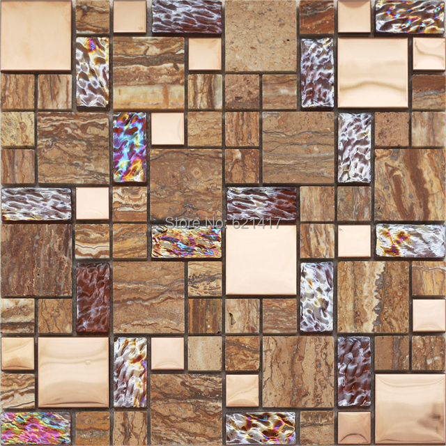 brown glass mixed marble stone mosaic tiles kitchen back splash ...