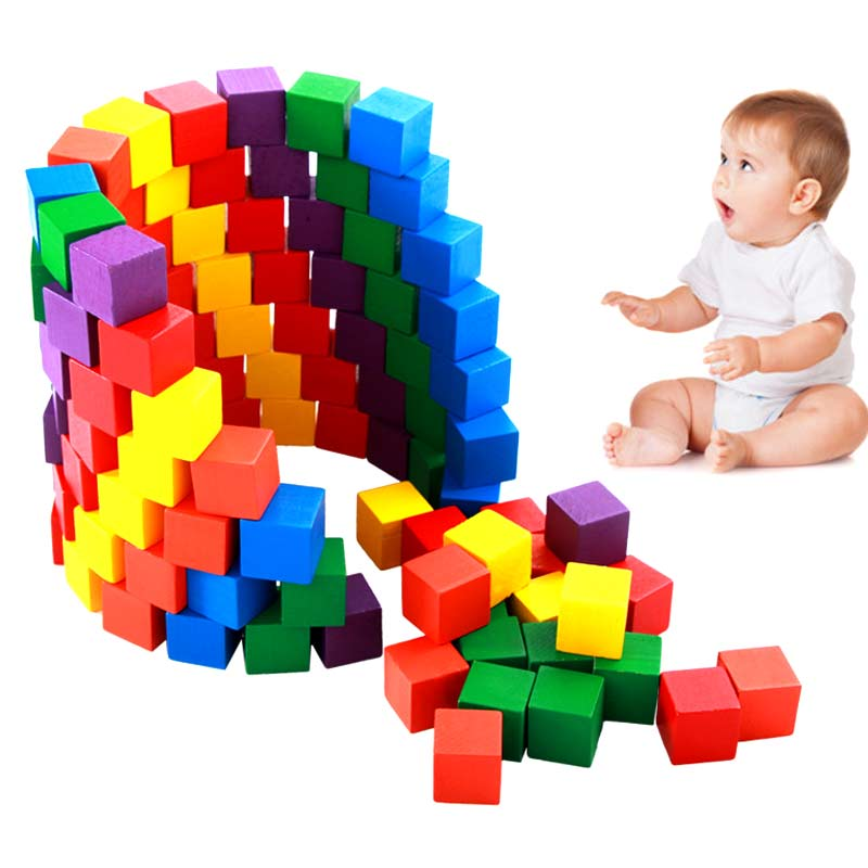 100 Pcs/Set Infant Building Blocks Cube Wooden Squeeze Stack Block Baby Kids Educational Toys Children Gifts FJ88 children s early educational toys barrels wooden forest castles block building blocks baby buildings castle baby boy girl toys