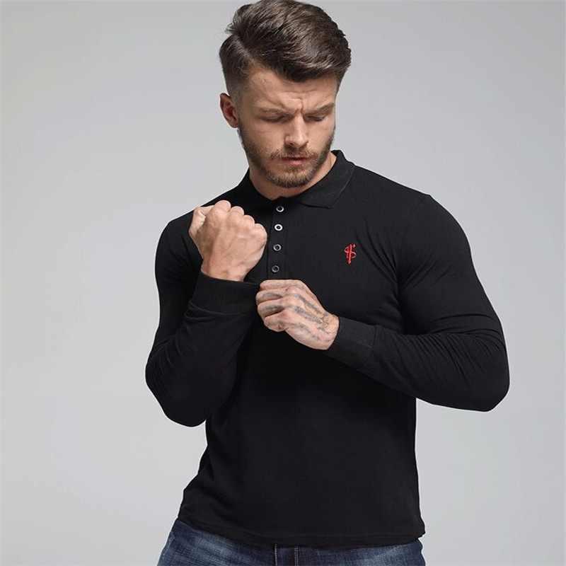 559d61e3521 NANSHA New Men Polo Shirt Men Business Casual Solid Polo Shirt Male Long  Sleeve Embroidery Polo