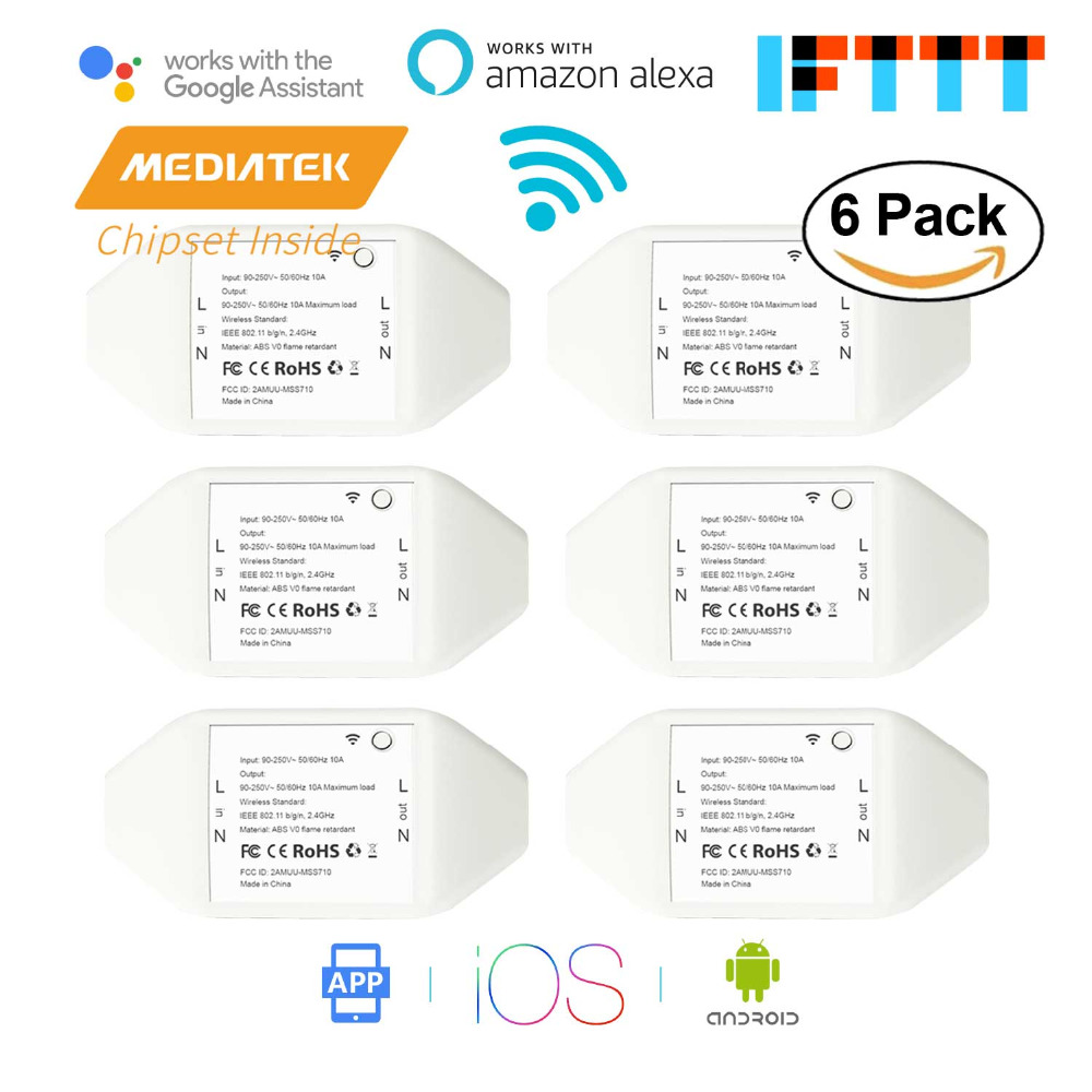 Smart WiFi Universal Switch DIY Amazon Alexa Google Assistant IFTTT Supported App Remote Control 6 Pack