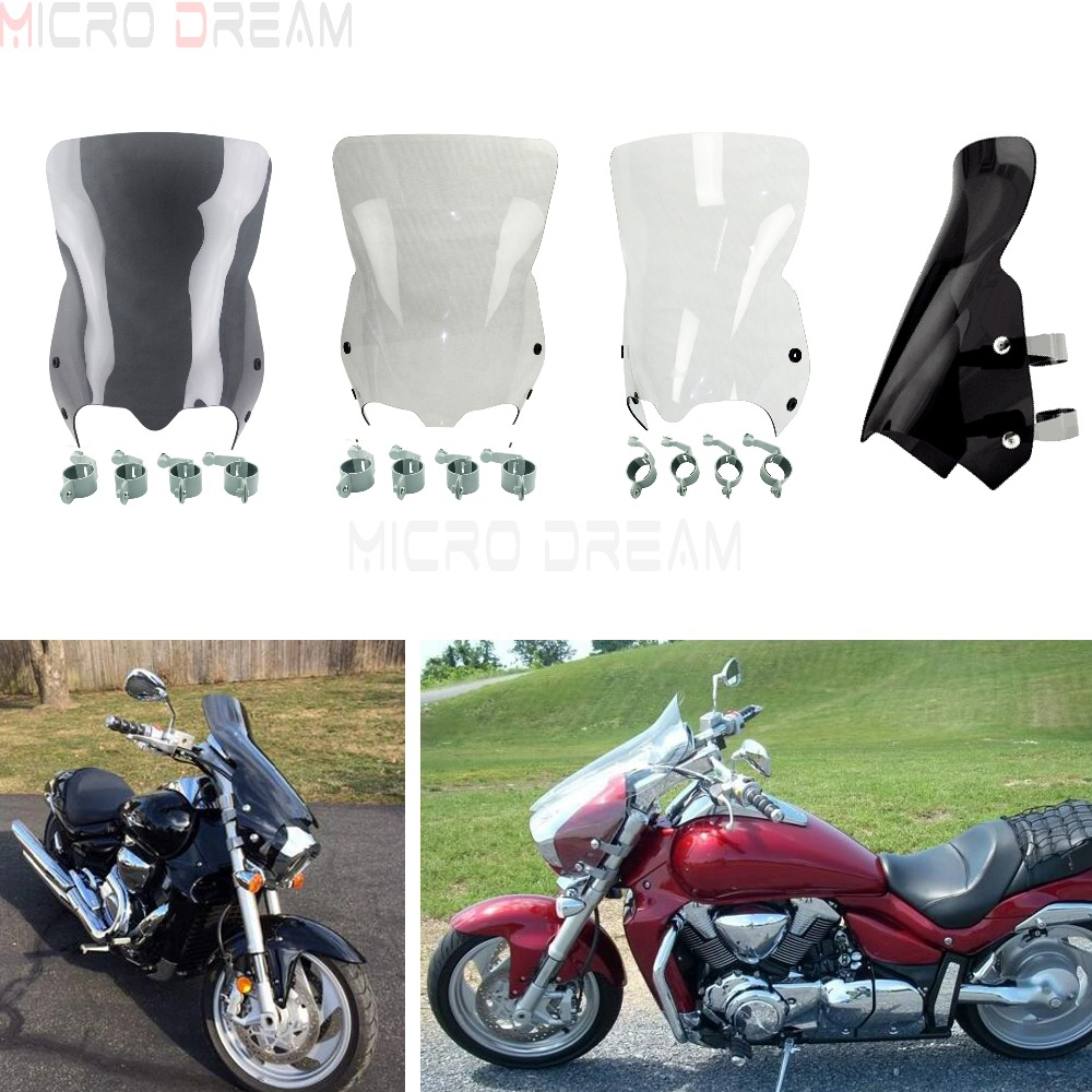 Motorcycle Wind Screen Deflector for Suzuki Boulevard M109 M109R M90 M50 M109R2 M109RZ Limited 2006 2016 PC Windshield w/ Clamps