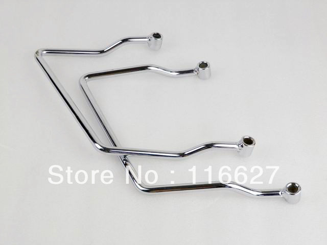 Chrome Luggage Saddle Bag Support Bar Mounts Bracket for 98-11 Yamaha V Star <font><b>XVS</b></font> <font><b>1100</b></font> Dragstar 400 650 Classic image
