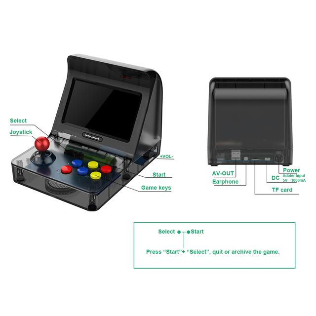 ACGAM A8 Nostalgic Retro Mini Handheld Arcade Game Console 3000 in 1 support GBA/FC/SFC/MD Porting Game Gamer- Black