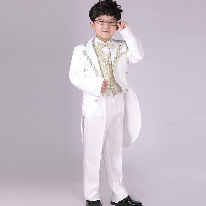 d517cc033 Trajes De Vestir Negro Blanco Esmoquin de La Boda de Plata de Oro Collar  Chaleco Prom Trajes Terno meninos en Trajes de Mamá y bebé en  AliExpress.com ...