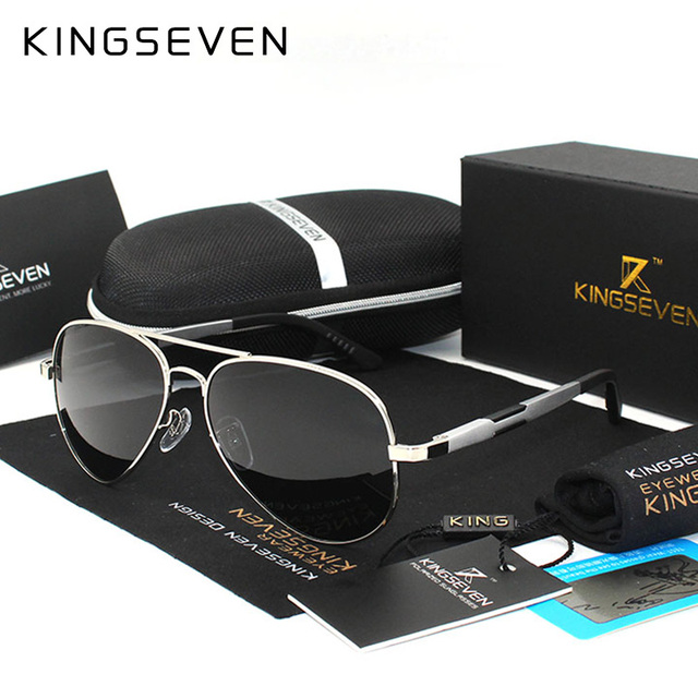 Kingseven Aluminum Magnesium Gold Fashion Polarized Lens Sunglasses Men/Women Driving Mirror Sun Glasses Points Male Oculos 7170
