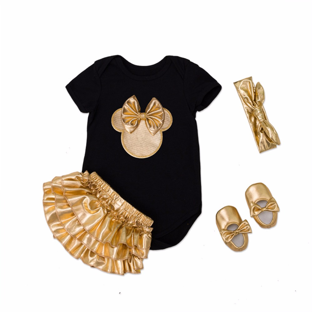 2019 Baby Girl Clothes 4pcs Clothing Sets Black Cotton   Rompers   Golden Ruffle Bloomers Shorts Shoes Headband Newborn Clothes