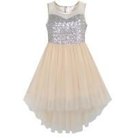 Sunny Fashion Flower Girl Dress Beige Sequined Tulle Hi Lo Wedding Party Dress 2016 Summer Princess