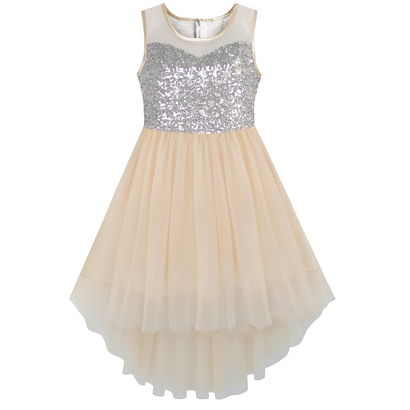 Flower Girl Dress Beige Sequined Tulle Hi-lo Teen Girls Wedding Party Dress Girls Princess Dresses Clothing 7-14
