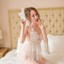 Sexy lingerie hot perspective mesh exposed breast strap nightdress passion suit sexy large size lace Sleepshirts