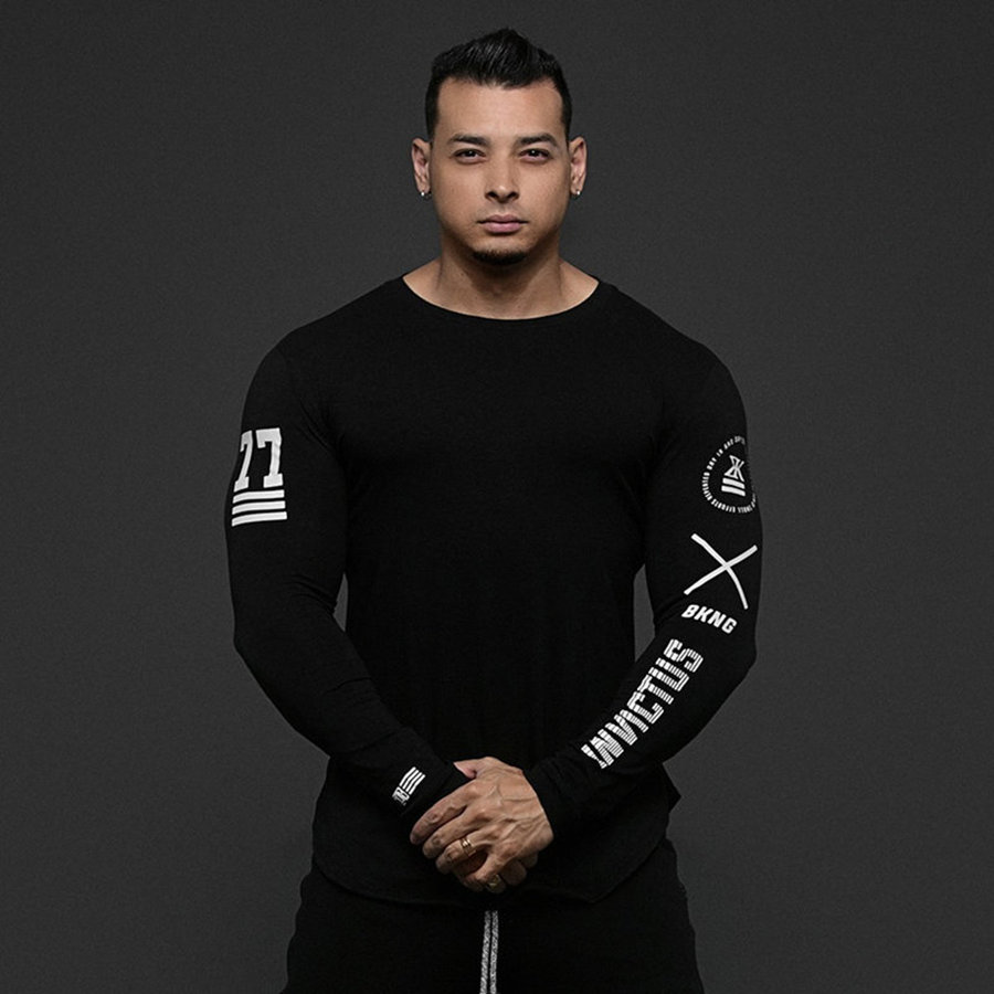 Men Skinny Long sleeve Shirts Spring 2019 Casual Fashion Printed T-Shirt Male Gyms Fitness Black Tee shirt Tops Brand Clothing 3