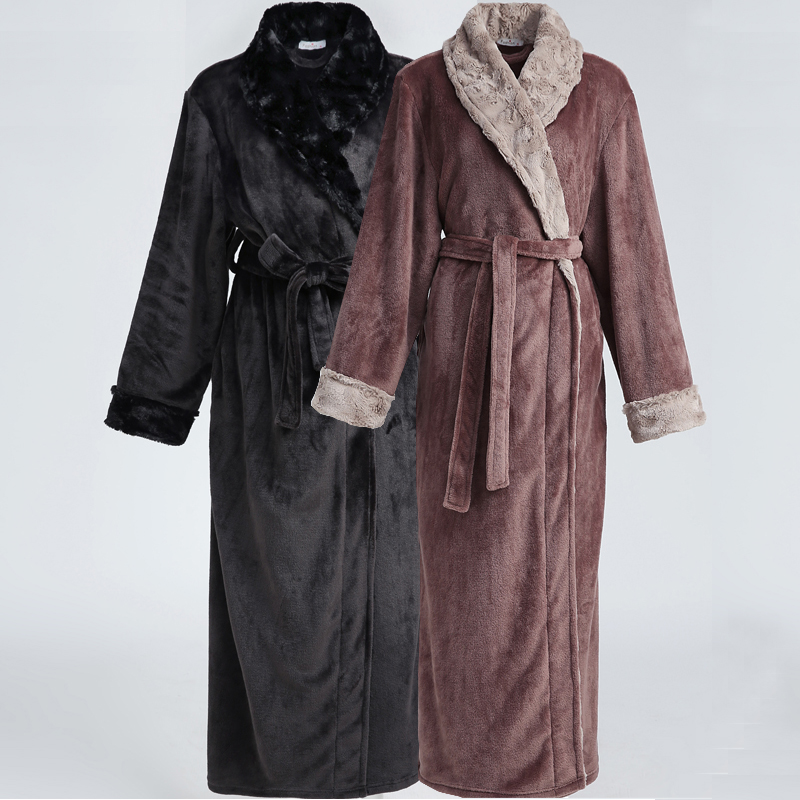 Men Hot Fur Plus Size Extra Long Thermal Flannel Bathrobe Mens Winter Warm Kimono Bath Robe Male Night Robes Women Dressing Gown