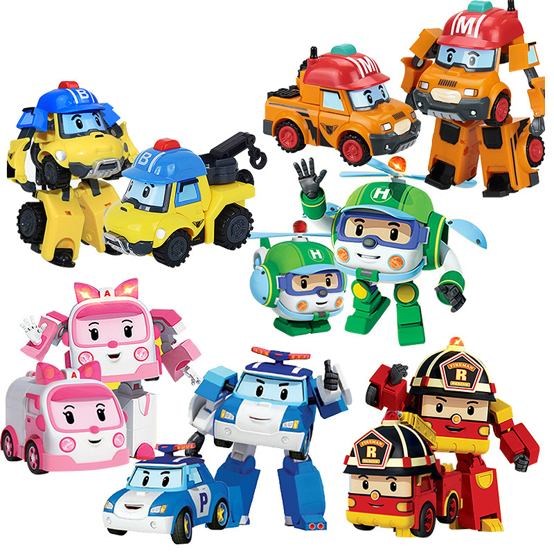6 Styles Action Figure Robocar Korea Robot Car Transformation Baby Toys Red Blue Green Pink Kid Gift for Children Gift