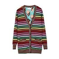 2018 Luxury Designer Brand Spring Cardigans Women V Neck Golden Silk Rainbow Stripe Knitted Sweater with Botton