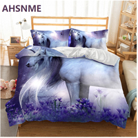 AHSNME Lavender and Unicorn Pattern Bedding Set Rhinoceros unicornis Children super girls love gift Quilt Cover King Queen