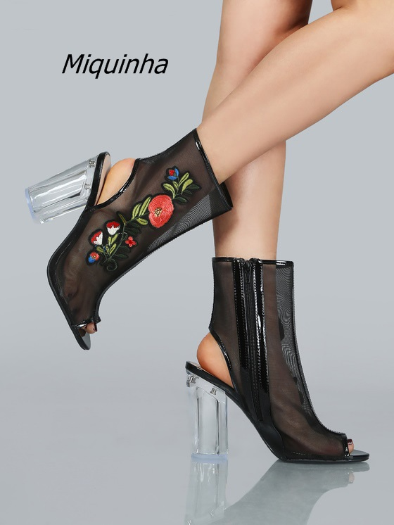 Trendy Design Flowers Embroidered Clear Block Heel Booties Sexy Black Mesh Slingback Ankle Boots Classy Chunky Heel Dress Shoes