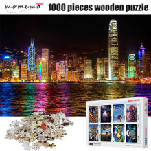 MOMEMO Hongkong Nightscape Jigsaw Puzzle Adult Puzzles 1000 Piece Landscape for Kids Wooden Educational Toy Games