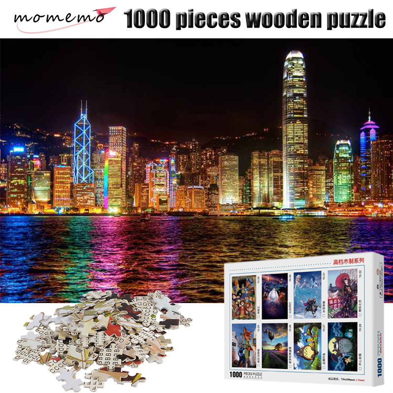 MOMEMO Hongkong Nightscape Jigsaw Puzzle Adult Puzzles 1000 Piece Landscape Puzzles for Kids Wooden Educational Toy Puzzle Games