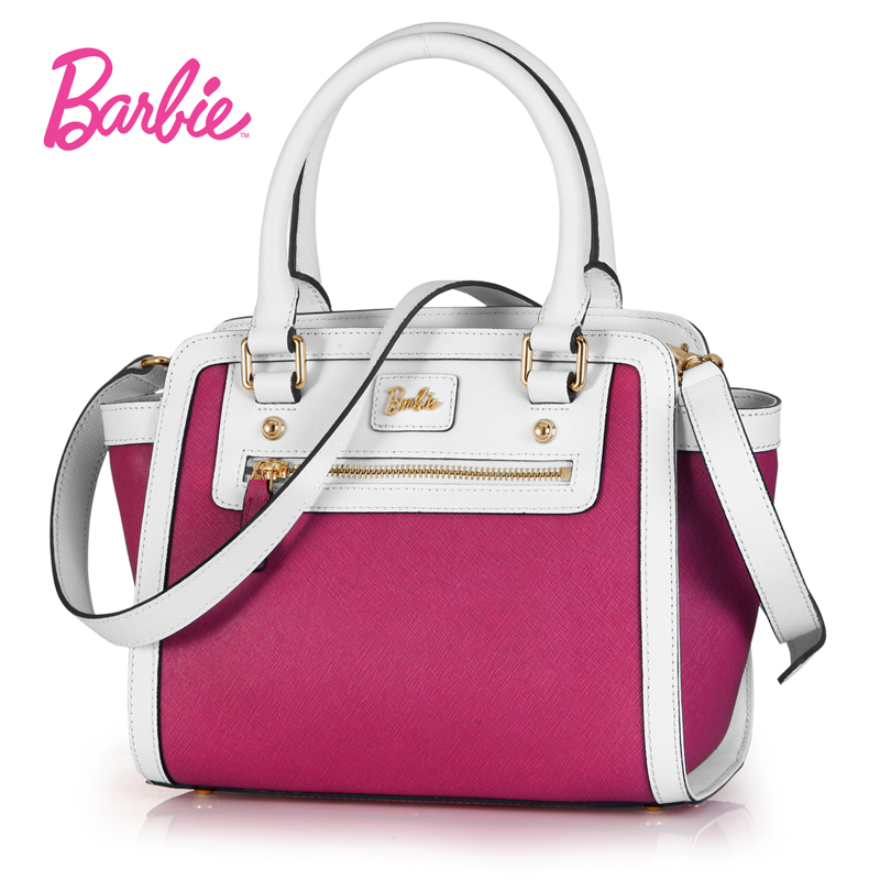 New Arrival Barbie Women Handbags Fashion Hit color Shoulder Bags PU Leather Top-handle Bags Female stylish women s hit color spaghetti strap blouse