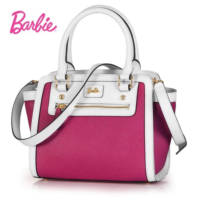 New Arrival Barbie Women Handbags Fashion Hit Color Shoulder Bags Pu Leather Top Handle